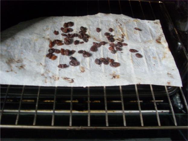 deuxième fournée, raisins secs dans le four